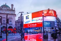 Piccadilly Circus is a famous London landmark and busy destination for tourists. LONDON, UK - JANUARY 12, 2017: Piccadilly Circus with the Shaftesbury Memorial stock photography