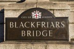 Blackfriars Bridge in London. London, UK - January 28th 2019: The sign on the historic Blackfriars Bridge in London, UK royalty free stock photo