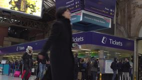 LONDON, UK. January 19, 2017. Ticket office on Victoria Station stock footage