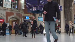LONDON, UK. January 19, 2017. Victoria Station with passengers stock footage