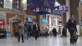 LONDON, UK. January 19, 2017. Victoria Station with passengers near underground stock footage