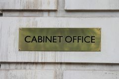 London, UK - Janurary 28th. Brass  sign outside the Cabinet Office in Whitehall London. January 28th 2017 Royalty Free Stock Images