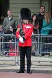 London UK-Juli 06, soldat av den kungliga vakten, Juli 06 2015 i London Arkivbild