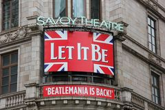 Let it Be play billboard,  Savoy Theatre royalty free stock photo