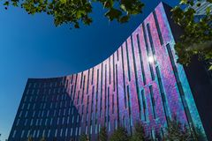 London, UK - JULY 15 2018: The ExCeL Center, an exhibitions and international convention centre Bright and colourful. Facade of the Aloft Hotel Stock Photo