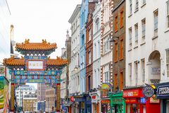 London Chinatown features Chinese restaurants, bakeries and souvenir shops. London, UK - July 22, 2017 - London Chinatown features Chinese restaurants, bakeries Stock Image