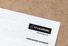 London / UK - July 1st 2019 - Letter from TV licensing company stating that the property is unlicensed royalty free stock photography