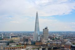 LONDON, UK - JULY 19, 2014: View of London from above. Shard skyscraper. London from St Paul`s Cathedral stock photos