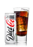 LONDON, UK - JUNE 9, 2017: Aluminium can and glass of Diet Coke soft drink on white.The Coca-Cola Company, an American multination Stock Image