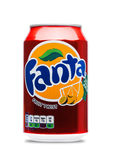 LONDON, UK - JUNE 9, 2017: Aluminum can of Fanta fruit twist soda drink on white.produced by the Coca-Cola Company. Stock Photo
