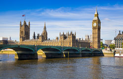 LONDON, UK - JUNE 24, 2014 - Big Ben and Houses of Parliament Stock Photos