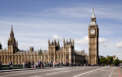LONDON, UK - JUNE 24, 2014 - Big Ben and Houses of Parliament on Thames river Royalty Free Stock Images