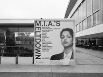 Mia Meltdown festival in London black and white. LONDON, UK - JUNE 08, 2017: Billboard showing MIA's Meltdown festival programme at the Southbank Centre in black Royalty Free Stock Photos
