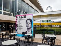 Mia Meltdown festival in London, hdr. London, Uk - June 08, 2017: billboard showing MIA's Meltdown festival programme at the Southbank Centre, high dynamic range Stock Images