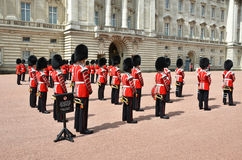 LONDON, UK - JUNE 12, 2014: British Royal guards perform the Cha Royalty Free Stock Photo