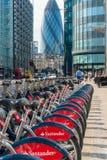 LONDON, UK - JUNE 12: Detail of Boris bikes in line. June 12, 20 Royalty Free Stock Images