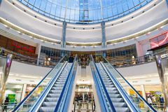 Glass dome in Canary Wharf shopping centre Stock Photo