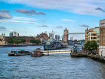 LONDON, UK - JUNE 14 : HMS Belfast anchored near Tower Bridge in Stock Photo