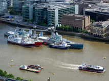 LONDON/UK - JUNE 15 : HMS Belfast and other Boats Moored in the Royalty Free Stock Photography