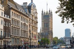 Houses of Parliament street view. London, UK. London, UK - June 27, 2017:  Houses  Parliament and Parliament tower street view. London, UK Royalty Free Stock Images