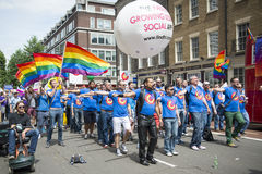 LONDON, UK - JUNE 29: London Gay Men's Chorus at the Gay Pride P Royalty Free Stock Photography
