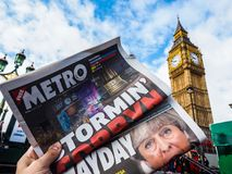 Newspaper showing Jeremy Corbyn in London, hdr. LONDON, UK - JUNE 09, 2017: Newspapers showing Jeremy Corbyn (Labour Party) and Theresa May (Conservative Party) stock photography