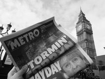Newspaper showing Jeremy Corbyn in London black and white. LONDON, UK - JUNE 09, 2017: Newspapers showing Jeremy Corbyn (Labour Party) and Theresa May ( stock images