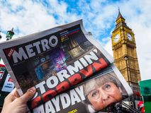Newspaper showing Jeremy Corbyn in London, hdr. LONDON, UK - JUNE 09, 2017: Newspapers showing Jeremy Corbyn (Labour Party) and Theresa May (Conservative Party) royalty free stock photography