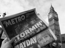 Newspaper showing Jeremy Corbyn in London black and white. LONDON, UK - JUNE 09, 2017: Newspapers showing Jeremy Corbyn (Labour Party) and Theresa May ( stock photography