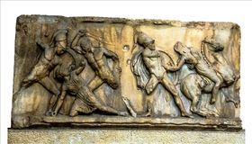 Panel of Battle of Greeks and Amazons. LONDON, UK - JUNE 4, 2015: Panel Battle of Greeks and Amazons Panel, east frieze, Mausoleum at Halicarnassus, attributed Stock Photos