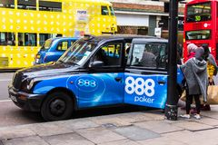 Taxi on Oxford street . London stock images