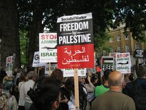 London UK - 05 June, 2018: People at Free Palestine – Stop the Stock Photography
