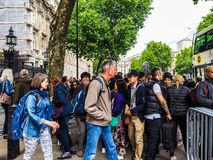 Downing Street in London, hdr. LONDON, UK - JUNE 09, 2017: People waiting for Theresa May in front of 10 Downing Street on the day following the general Stock Photography