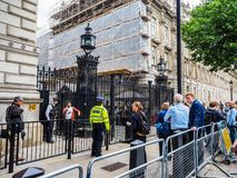 Downing Street in London, hdr. LONDON, UK - JUNE 09, 2017: People waiting for Theresa May in front of 10 Downing Street on the day following the general Stock Images