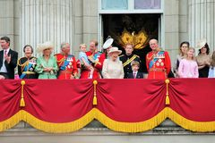LONDON, UK - JUNE 13 2015: The Royal Family appears on Buckingham Palace balcony during Trooping the Colour ceremony Stock Photos