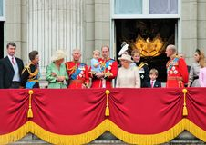 LONDON, UK - JUNE 13: The Royal Family appears on Buckingham Palace balcony during Trooping the Colour ceremony, Prince George Stock Photo