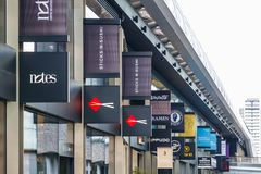 Signs of restaurants and shops displayed at Crossrail Place in C. London, UK - June 25, 2017 - Signs of restaurants and shops displayed at Crossrail Place in Stock Image