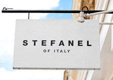 LONDON, UK - JUNE 02, 2017: Stefanel logo display fashion outlet store in London. Stock Photo
