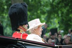 LONDON, UK - JUNE 13th 2015: Queen Elizabeth II and Prince Philip. LONDON, UK - JUNE 13: The Royal Family appears during Trooping the Colour ceremony, on June 13 Stock Photo