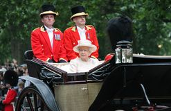 LONDON, UK - JUNE 13th 2015: Queen Elizabeth II and Prince Philip. LONDON, UK - JUNE 13: The Royal Family appears during Trooping the Colour ceremony, on June 13 Royalty Free Stock Photography
