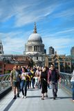 Tourists walking on millennium bridge in London Stock Image