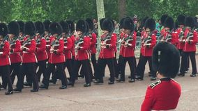 London, UK - June 8 2019: trooping the colour Coldstream Queen s royal Gaurd from Buckingham palace marching - stock footage