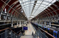 Paddington Train Station with victorian train shed. London, United Kingdom. stock photos