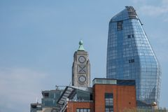 London UK skyline showing iconic Oxo Tower and the new One Blackfriars building, also known as `The Vase`. stock image