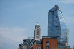 London UK skyline showing iconic Oxo Tower and the new One Blackfriars buidling, also known as `The Vase`. London UK. London skyline showing iconic Oxo Tower royalty free stock photo