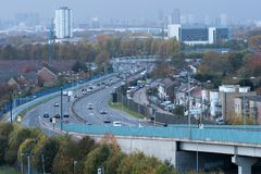 10/11/2018 London, UK. Main road A13 durring the weekend in a cloudy day. stock image