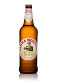 LONDON UK - MAJ 15, 2017: Flaska av Birra Moretti öl på vit, italienskt brygga företag som grundas i Udine i 1859 av Luigi Moret Royaltyfria Bilder