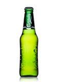 LONDON UK - MAJ 29, 2017: Flaska av Carlsberg öl på vit Danskt brygga företag som grundas i 1847 Royaltyfri Fotografi
