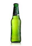LONDON UK - MAJ 29, 2017: Flaska av Carlsberg öl på vit Danskt brygga företag som grundas i 1847 Arkivfoto