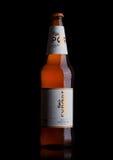 LONDON UK - MAJ 15, 2017: Flaskan av Carlsberg exportöl på svart, det danska brygga företaget grundade i 1847 med högkvarterloca Royaltyfria Foton